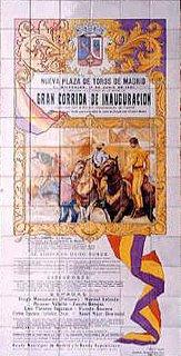 Azulejo que reproduce en Las Ventas el cartel inaugural de la plaza