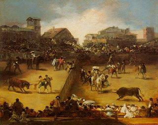 'Corrida en plaza partida', por Francisco de Goya
