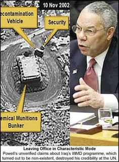 Colin Powell at the UN. The lack of a smoking gun was obvious