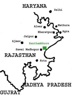 map showing location of Ranthambore