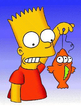 Blinky, el pez de tres ojos de Springfield, en manos de Bart Simpson. Imagen: Fox