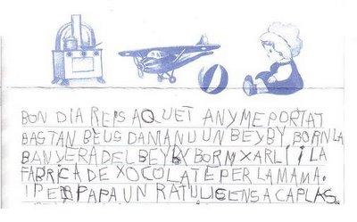 Fragmento de carta surrealista redactada con un estilo tosco y una ortografía dolorosa