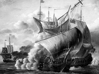 sailing ships in battle