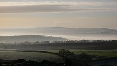 This beautiful shot is of an icy February morning looking toward Baslow Edge from Curbar, Derbyshire by glowingtones of flickr.com