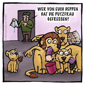 Zoo Löwen Putzfrau gefressen Cartoon Cartoons Witze witzig witzige lustige Bildwitze Bilderwitze Comic Zeichnungen lustig Karikatur Karikaturen Illustrationen Michael Mantel lachhaft Spaß Humor