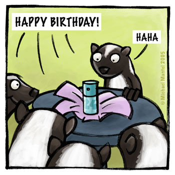 Stinktier Geburtstag Geschenk auspacken Cartoon Cartoons Witze witzig witzige lustige Bildwitze Bilderwitze Comic Zeichnungen lustig Karikatur Karikaturen Illustrationen Michael Mantel lachhaft Spaß Humor