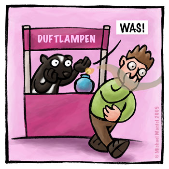 Stinktier Duftlampen Verkäufer Cartoon Cartoons Witze witzig witzige lustige Bildwitze Bilderwitze Comic Zeichnungen lustig Karikatur Karikaturen Illustrationen Michael Mantel lachhaft Spaß Humor