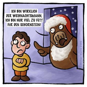 Weihnachtsmann zu fett für den Schornstein dick Weihnachten Walross Einbrecher Cartoon Cartoons Witze witzig witzige lustige Bilder Bilderwitz Bilderwitze Comic Zeichnungen lustig Karikatur Karikaturen Illustrationen Michael Mantel lachhaft Spaß Humor Witz