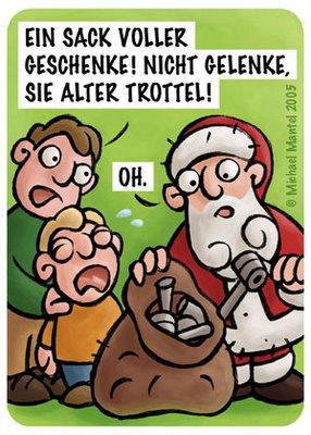 Weihnachten Weihnachtsmann Geschenke Gelenke Sack alter Trottel Heiligabend Bescherung Cartoon Cartoons Witze witzig witzige lustige Bilder Bilderwitz Bilderwitze Comic Zeichnungen lustig Karikatur Karikaturen Illustrationen Michael Mantel lachhaft Spaß Humor Witz