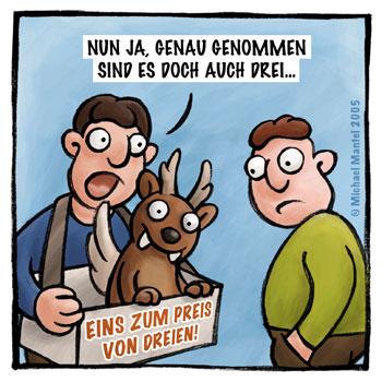 Wolpertinger Verkäufer verkaufen Beschiss bescheissen Cartoon Cartoons Witze witzig witzige lustige Bildwitze Bilderwitze Comic Zeichnungen lustig Karikatur Karikaturen Illustrationen Michael Mantel lachhaft Spaß Humor