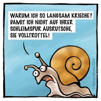 Schnecken langsam kriechen Schleimspur ausrutschen Cartoon Cartoons Witze witzig witzige lustige Bildwitze Bilderwitze Comic Zeichnungen lustig Karikatur Karikaturen Illustrationen Michael Mantel lachhaft Spaß Humor