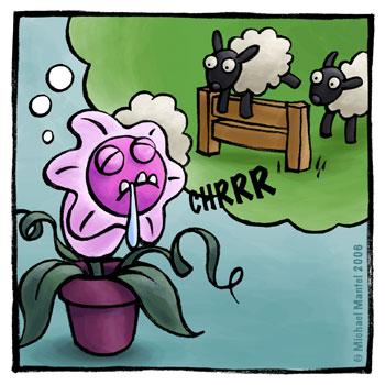 Hannibal fleischfressende Pflanze Schäfchen zählen Fresspflanze Traum träumen einschlafen Cartoon Cartoons Witze witzig witzige lustige Bilder Bilderwitz Bilderwitze Comic Zeichnungen lustig Karikatur Karikaturen Illustrationen Michael Mantel lachhaft Spaß Humor Witz