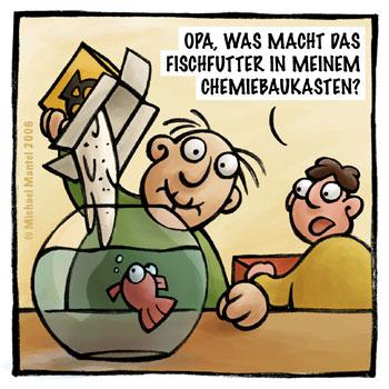 Chemiebaukasten Opa Aquarium Fischfutter Enkel senil Cartoon Cartoons Witze witzig witzige lustige Bilder Bilderwitz Bilderwitze Comic Zeichnungen lustig Karikatur Karikaturen Illustrationen Michael Mantel lachhaft Spaß Humor Witz