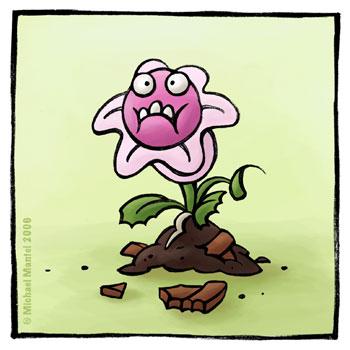 Hannibal Fresspflanze fleischfressende Pflanze Hunger Appetit essen verfressen Cartoon Cartoons Witze witzig witzige lustige Bildwitze Bilderwitze Comic Zeichnungen lustig Karikatur Karikaturen Illustrationen Michael Mantel lachhaft Spaß Humor
