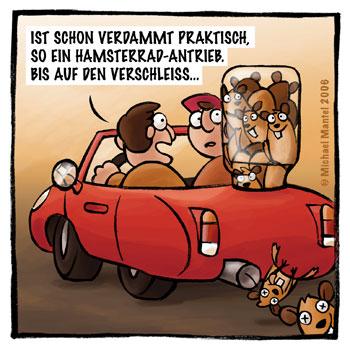 Hamsterradantrieb Auto Sprit Benzin Sparen Treibstoff tanken Verschleiß Cabrio Cartoon Cartoons Witze witzig witzige lustige Bilder Bilderwitz Bilderwitze Comic Zeichnungen lustig Karikatur Karikaturen Illustrationen Michael Mantel lachhaft Spaß Humor Witz