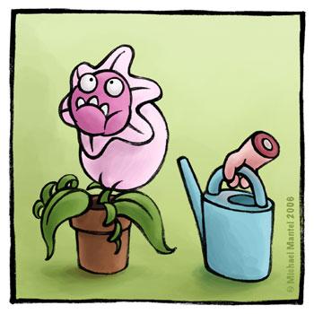 Hannibal Fresspflanze gießen Gießkanne dick vollgefressen fleischfressende Pflanze Cartoon Cartoons Witze witzig witzige lustige Bilder Bilderwitz Bilderwitze Comic Zeichnungen lustig Karikatur Karikaturen Illustrationen Michael Mantel lachhaft Spaß Humor Witz