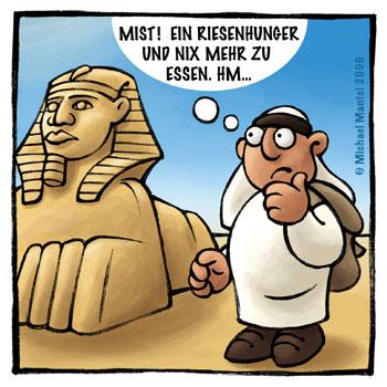 Sphinx Ägypten Riesenhunger essen Wanderer Beduine Araber Wüste Cartoon Cartoons Witze witzig witzige lustige Bilder Bilderwitz Bilderwitze Comic Zeichnungen lustig Karikatur Karikaturen Illustrationen Michael Mantel lachhaft Spaß Humor Witz