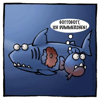 Piranhas Hai Meer Fische fressen verfressen gefräßig fressen Sushi Cartoon Cartoons Witze witzig witzige lustige Bilder Bilderwitz Bilderwitze Comic Zeichnungen lustig Karikatur Karikaturen Illustrationen Michael Mantel lachhaft Spaß Humor Witz
