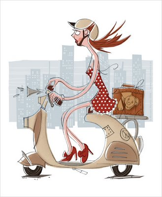 Mofa Skyline Hochhäuser Vespa Motorroller Mädchen Hupe hupen unterwegs fahren Helm Helmpflicht Großstadt Illustrationen Michael Mantel 2006