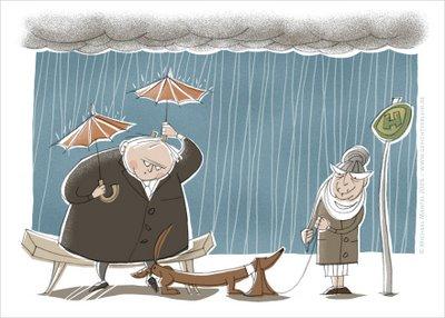Schietwetter Sauwetter Regen dicker Mann Regenschirme warten Bushaltestelle Illustrationen Michael Mantel