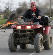 Mohawk Warrior on an ATV in Caledonia