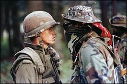 Canadian soldier and Mohawk Warrior 'face off' in Oka, 1990