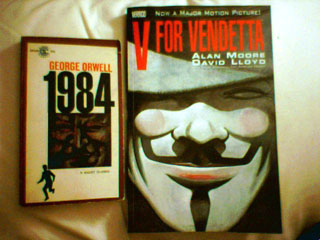 1984, with an rendition of Big Brother on the cover, next to V for Vendetta, with V in his Guy Fawkes mask on the cover.