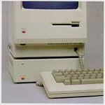 The Apple Hard Disk 20, with a Macintosh (128K, 512K, or 512K Enhanced) sitting on top of it.