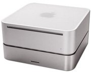 The NewerTech miniStack, with a Mac mini sitting on top of it.