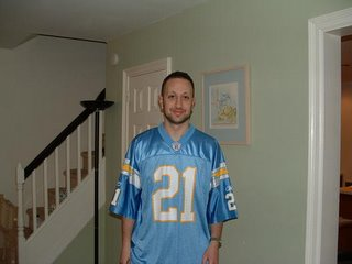 San Diego Chargers LaDanian Tomlinson, just a classic color scheme, I opted to save $400 bucks and get this one instead of the Lance Alworth throwback and now that LT is so awesome, I'm glad I did