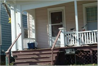 The porch, from which Beers hit garbage onto the front lawn and site of round 2 of the Coach-Smist brawl