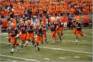 Pre-game warmups, the last time SU was in the game