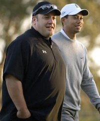 Tiger played yesterday's pro-am round with Fatty McButterpants