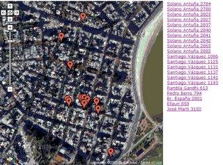 Mapa satelital de Montevideo con viviendas BELLO y REBORATI