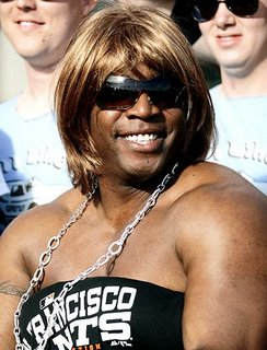 Big Head Paula?  Nope, it's just Barry Bonds in a wig