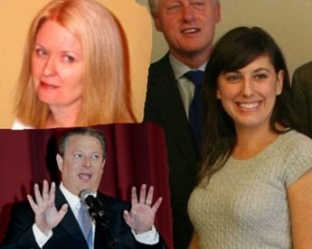 a childishly inappropriate collage of ann althouse, bill clinton, jessica valenti, and al grabby gore