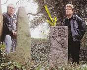 Famed Scottish archeologist identified this as 'Arthurs Stone'..Wilson(left) and Blackett purchsed the ancient cemetery from the local Church leaders
