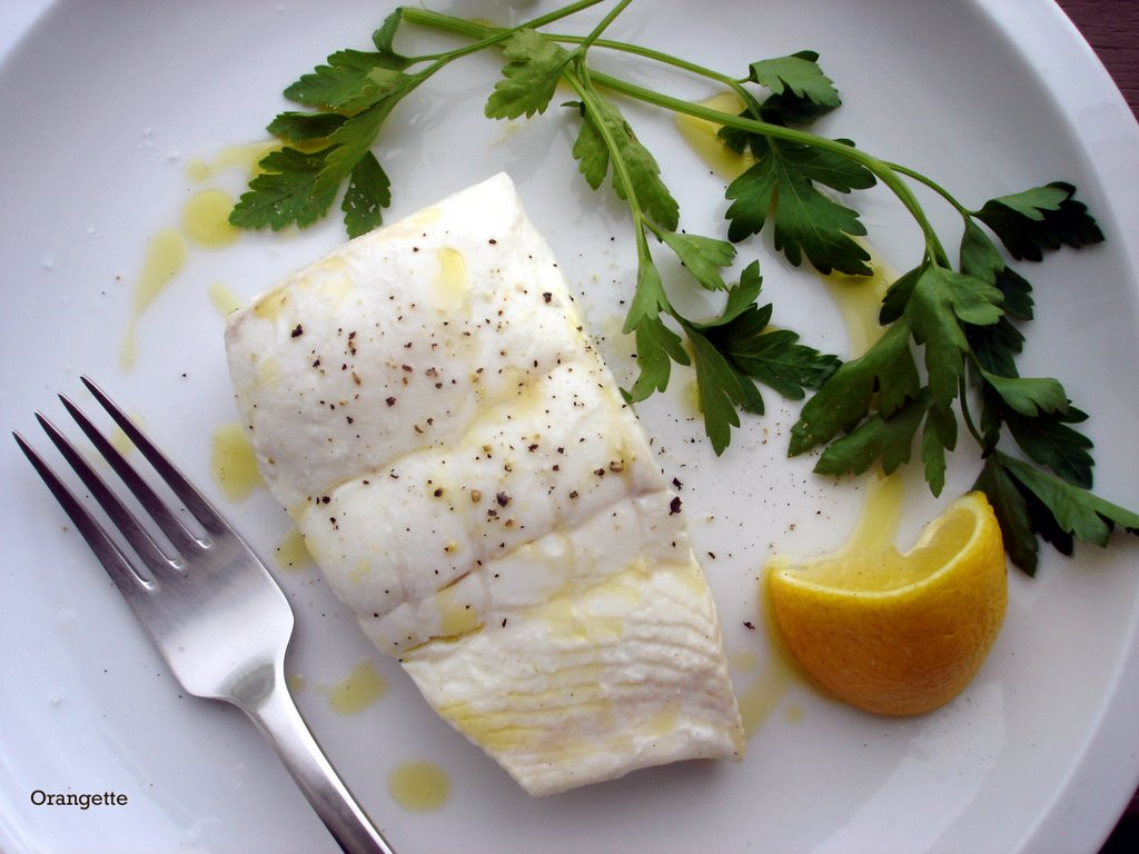 Poached Halibut with Sweet Garlic, Parsley, and Lemon