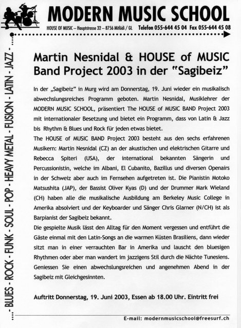 Modern music school glarnerland musikunterricht for House music 2003