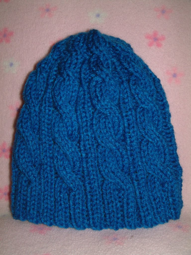 Knitting Pattern Cable Hat Easy : Chemo Hat #8 Completed - 3AM Blue Cable Hat ~ smariek knits