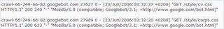 Exemple des CSS que Google a visité sur un site