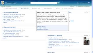 Page de démarrage personnalisable du nouveau moteur de recherche Windows Live Search de MSN