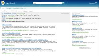 Page de résultats du nouveau moteur de recherche Windows Live Search de MSN