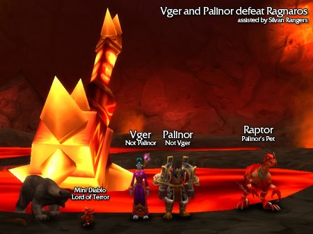 Vger and Palinor defeat Ragnaros assisted by Silvan Rangers