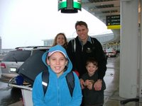 The Grace family at the airport, leaving sunny Canada!