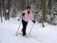 Donna trying Nordic Skiing