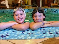 Kate and Laura in the pool