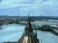 The view of the Ottawa River, overloking the roof Parliamentary Library