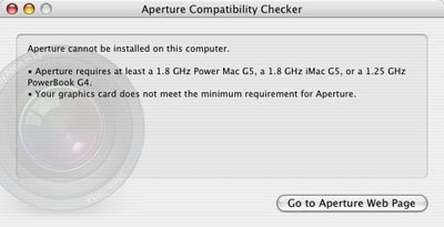 Aperture doesn't like G4 Power Macs.