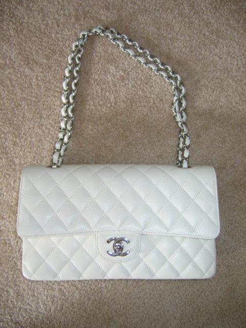 4b2b3dbf33e3 White Chanel 2.55 with silver hardware